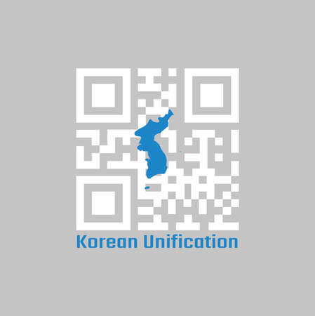 QR code set the color of white and blue South Korea  Korean Peninsula. The Korean Unification Flag, when North and South Korea participate as one team in sporting events. 일러스트