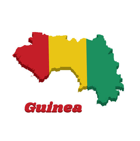3D Map outline and flag of Guinea, A vertical tricolor of red yellow and green. with name text Guinea. Imagens - 124721510