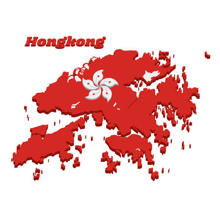 3D Map outline and flag of Hongkong, white five-petal Bauhinia blakeana flower in the centre of a red field. with name text Hong Kong. Imagens - 124721512