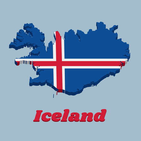 3D Map outline and flag of Iceland, it is blue as the sky with a snow-white cross, and a fiery-red cross inside the white cross, with text Iceland. Ilustração