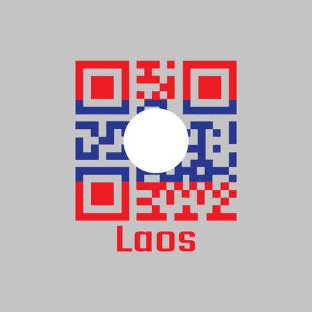 QR code set the color of Laos flag. blue red and white circle color with text Laos.