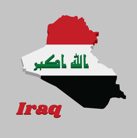 "3D Map outline and flag of Iraq, a horizontal tricolor of red white and black, charged with the ""God is greatest in green Kufic script with name text Iraq. Ilustração"
