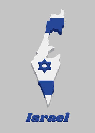 3D Map outline and flag of Israel, It depicts a blue hexagram on a white background, between two horizontal blue stripes. with text Israel.
