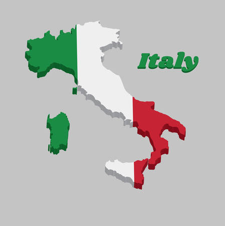 3D Map outline country shaped like a boot and flag of Italy, It is A vertical tricolor of green white and red with name text of Italy.