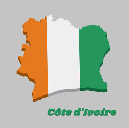 3D Map outline and flag of Ivory Coast , A vertical tricolor of orange white and green. with name text Cote d'Ivoire. Imagens - 124721518