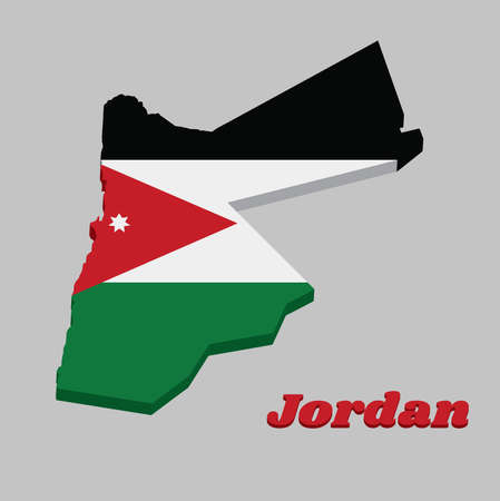 3D Map outline and flag of Jordan, a horizontal triband of black white and green; with a red chevron based on the hoist side containing a white star. with text Jordan. Ilustração