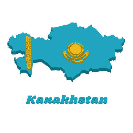 "3D Map outline and flag of Kazakhstan, A gold sun above eagle on blue field. The hoist side displays a national ornamental pattern the horns of the ram"" in gold. with text Kazakhstan. Ilustração"