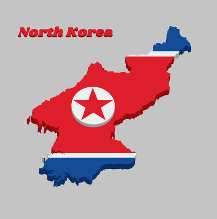 3D Map outline and flag of North Korea, It is a wide red stripe at the center, with white stripe both and blue stripe. The red star in a white circle, with text North Korea.