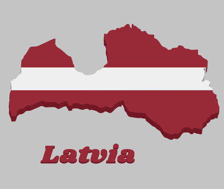 3D Map outline and flag of Latvia, a carmine field bisected by a narrow white stripe (one-fifth the width of the flag). with text Latvia.