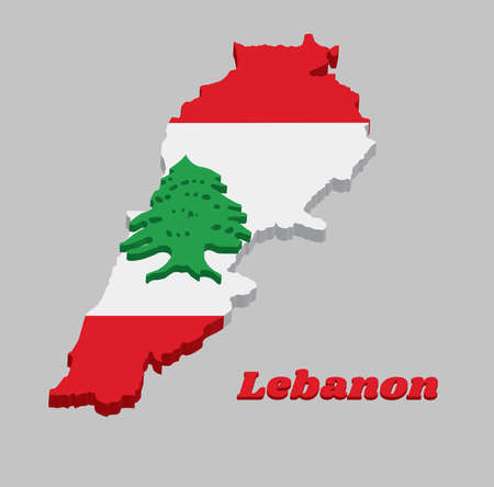3D Map outline and flag of Lebanon, It is a horizontal triband of red and white, charged with a green Lebanon Cedar with text Lebanon.