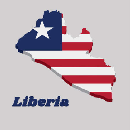 3D Map outline and flag of Liberia, Eleven horizontal stripes alternating red and white; in the canton, a white star on a blue field. with text Liberia.