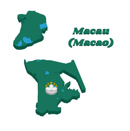 3D Map outline and flag of Macau, green with a lotus and stylised Governor Nobre de Carvalho Bridge and water in white, and five gold star. with text Macau (Macao). Illusztráció