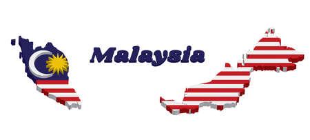 Profilo della mappa 3D e bandiera della Malesia nel colore bianco e giallo rosso blu con la stella gialla e la luna crescente bianca con il testo di nome Malesia.