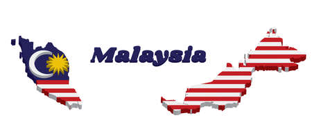 3D Map outline and flag of Malaysian in blue red white and yellow color with yellow star and white Crescent moon with name text Malaysia.