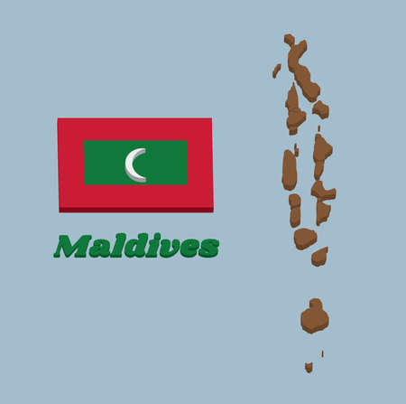 3D Map outline and flag of Maldives, green with a red border. The centre bears a vertical white crescent. with name text Maldives.