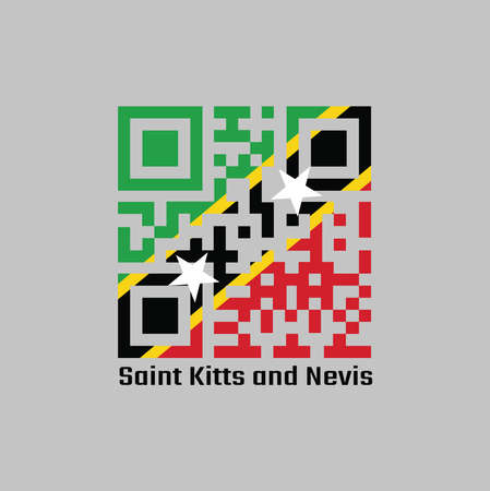 QR code set the color of Saint Kitts and Nevis flag. A yellow edged black diagonal with star, the upper triangle is green and the lower is red. with text Saint Kitts and Nevis.