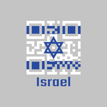 QR code set the color of Israel flag. It depicts a blue hexagram on a white background, between two horizontal blue stripes. with text Israel.