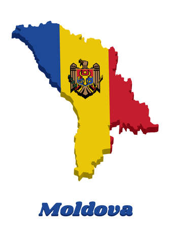 3D Map outline and flag of Moldova, a vertical tricolor of blue yellow and red; charged with the Coat of Arms centered on the yellow band. with name text Moldova.