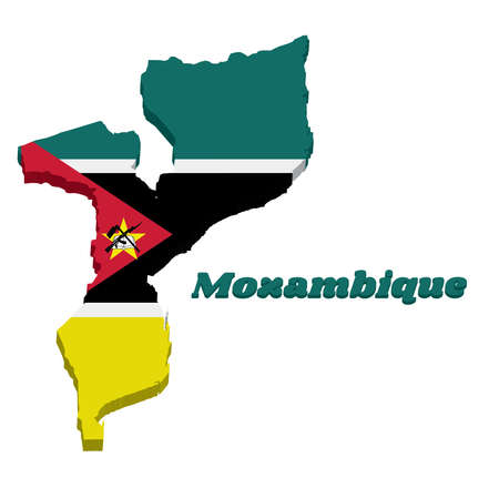 3D Map outline and flag of Mozambique, a horizontal of green black yellow and white with the red triangle bearing the yellow star an AK-47 assault rifle with the bayonet on book.