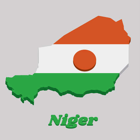 3D Map outline and flag of Niger, A horizontal triband of orange white and green; charged with an orange circle in the centre. with text Niger.