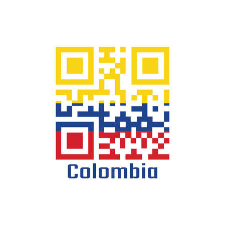 QR code set the color of Colombia flag. a horizontal tricolor of yellow (double-width), blue and red with text Colombia.