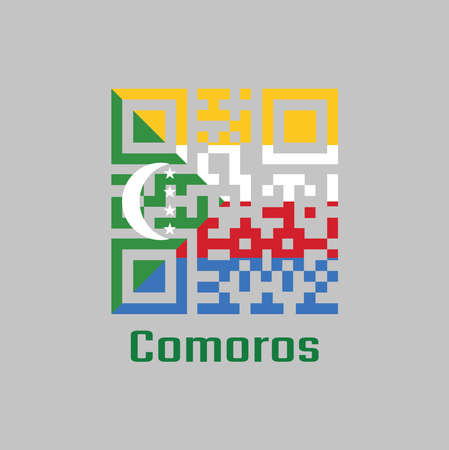 QR code set the color of Comoros flag. Four horizontal stripes of yellow white red and blue with a green chevron with a white crescent and four stars with text Comoros. Çizim