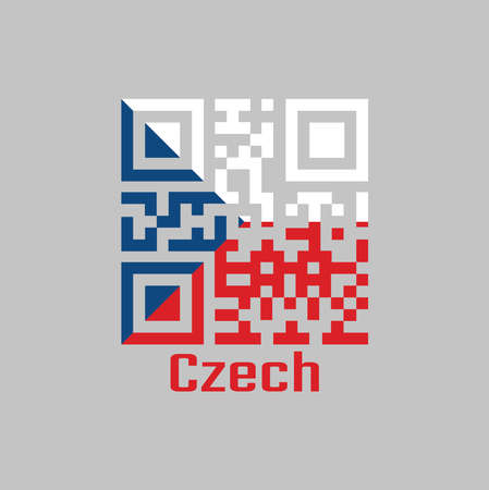 QR code set the color of Czech flag. two equal horizontal bands of white (top) and red with a blue isosceles triangle based on the hoist side. with text Czech.