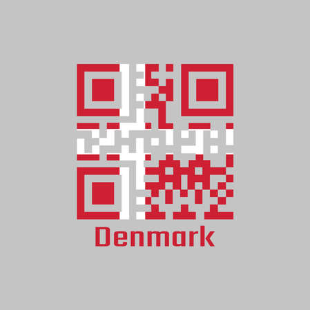 QR code set the color of Denmark flag. it is red with a white Scandinavian cross that extends to the edges of the flag, with text Denmark.