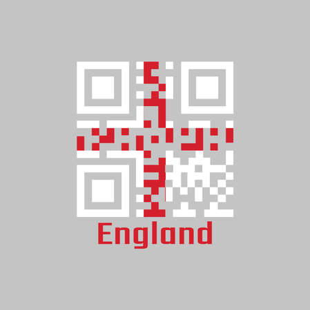 QR code set the color of England flag, it is a red centred cross on a white background, with name text England. Ilustrace