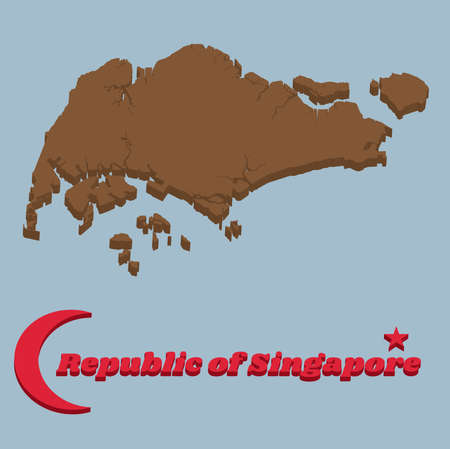 3d Map outline of Singapore in brown color, Crescent moon and star, with name text of Republic of Singapore. Çizim