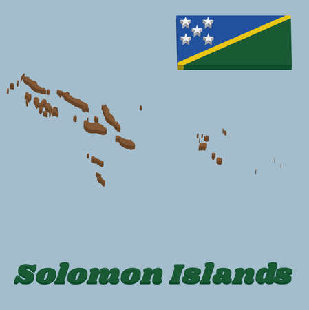 3d Map outline and flag of Solomon Islands, A thin yellow narrow diagonal stripe divided diagonally with green and blue triangle and star. with text Solomon Islands.