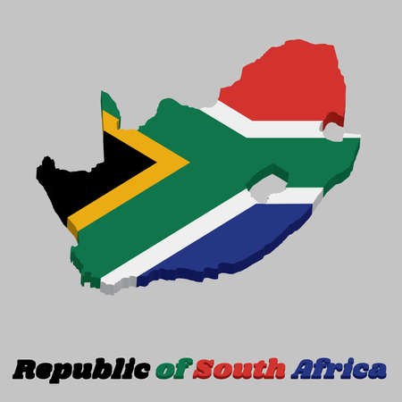 3d Map outline and flag of South Africa, a horizontal of red and blue with a black triangle, white and green horizontal Y and gold triangle. with text South Africa.