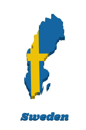 3d Map outline and flag of Sweden, it is consists of a yellow or gold Nordic Cross on a field of blue, with text Sweden.