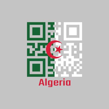 Le code QR définit la couleur du drapeau algérien, il se compose de deux barres verticales égales, verte et blanche, chargées au centre d'une étoile et d'un croissant rouges. avec texte Algérie.