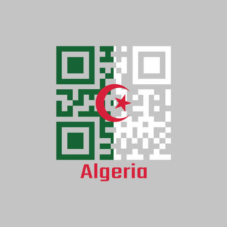 QR code set the color of Algeria flag, it is consists of two equal vertical bars, green and white, charged in the center with a red star and crescent. with text Algeria. Illusztráció