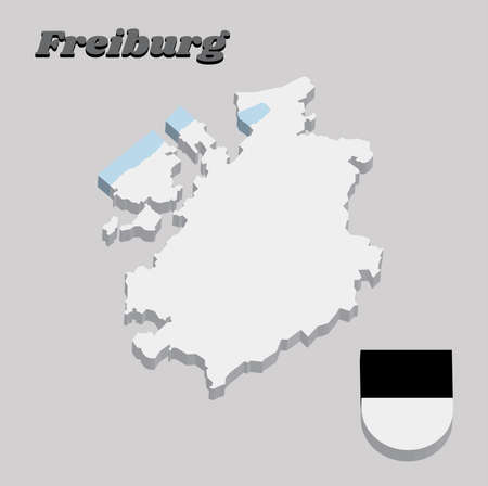3D Map outline and Coat of arms of Freiburg, The canton of Switzerland with name text Freiburg. Illustration