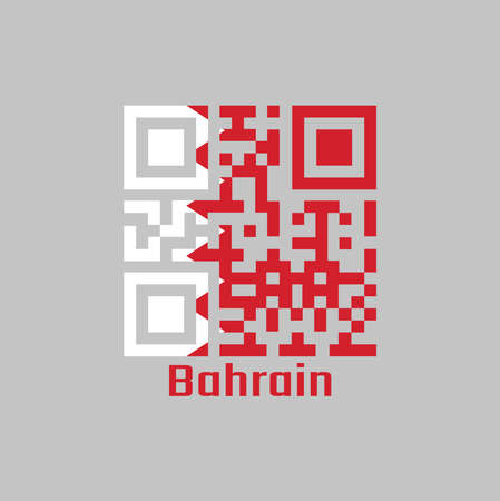 QR code set the color of Bahrain flag, a white field on the hoist side separated from a larger red field on the fly by five white triangles in the form of a zigzag pattern and text Bahrain.  イラスト・ベクター素材