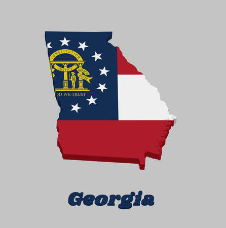 3D Map outline and flag of Georgia, Three stripes consisting of red white red. A blue canton containing a ring of 13 stars encompassing the coat of arms in gold. With text Georgia. 向量圖像