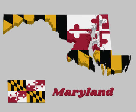 3D Map outline and flag of Maryland, Heraldic banner of George Calvert, 1st Baron Baltimore. With text Maryland.  イラスト・ベクター素材