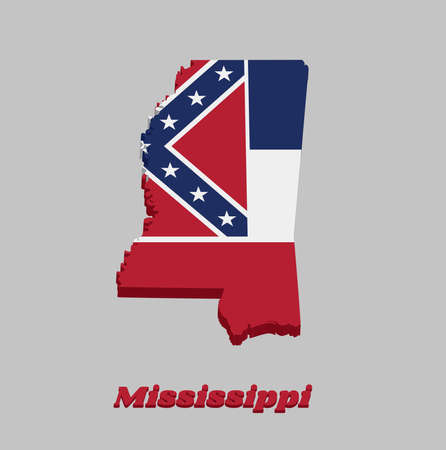 3D Map outline and flag of Mississippi, Three horizontal stripes of blue white and red. The canton is square, spans two stripes, consists of a red background with a blue saltire, with white star. Vettoriali