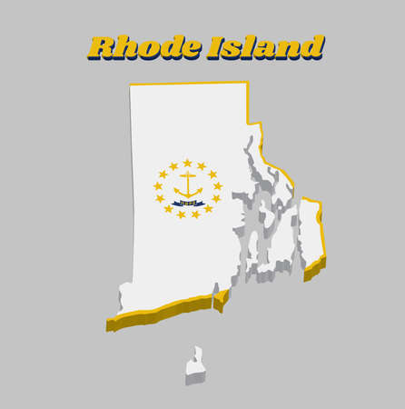 3D Map outline and flag of Rhode Island, Gold anchor, surrounded by 13 gold stars on white. A blue ribbon below the anchor contains the text