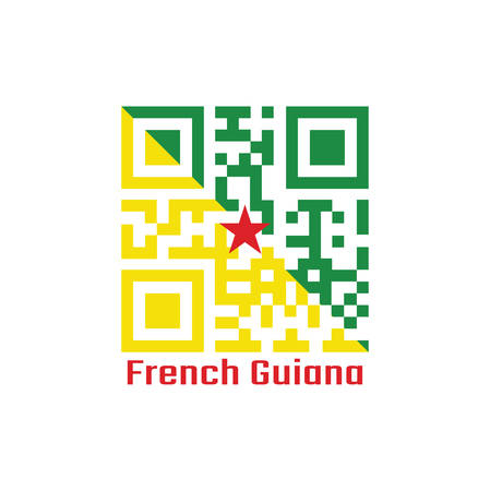 QR code set the color of French Guiana flag, The green and yellow with red star. text: French Guiana. Illustration