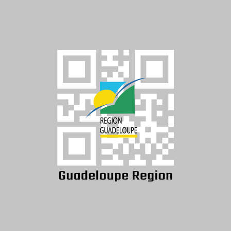 QR code set the color of Guadeloupe Region flag, sun and bird on a green and blue square with the subscript REGION GUADELOUPE underlined in yellow. text: Guadeloupe Region.