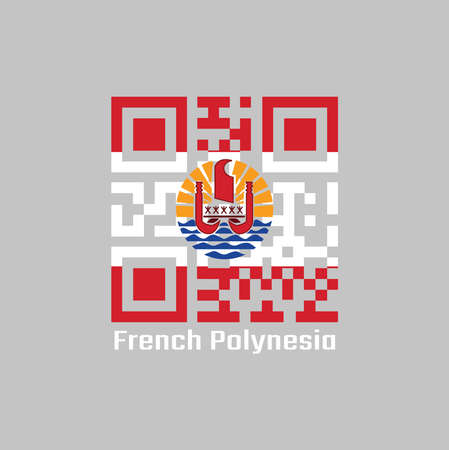 QR code set the color of French Polynesia flag. Two red horizontal and wide white; centered is a disk with Polynesian canoe rides on the wave. text: French Polynesia.