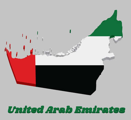 3D Map outline and flag of UAE, a horizontal tricolor of green, white and black with a vertical one fourth width red bar at the hoist and text United Arab Emirates.