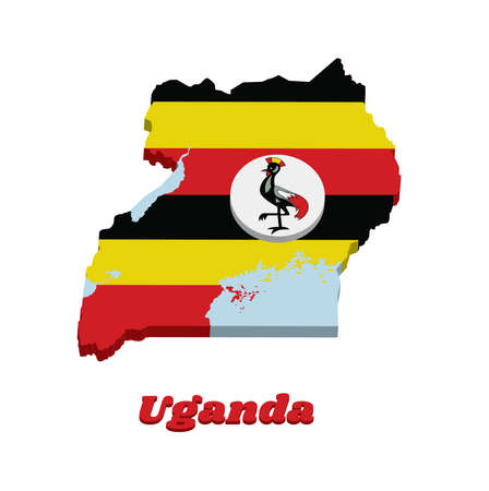 3D Map outline and flag of Uganda, horizontal bands of black yellow and red; a white disc depicts the national symbol, a grey crowned crane with text Uganda.