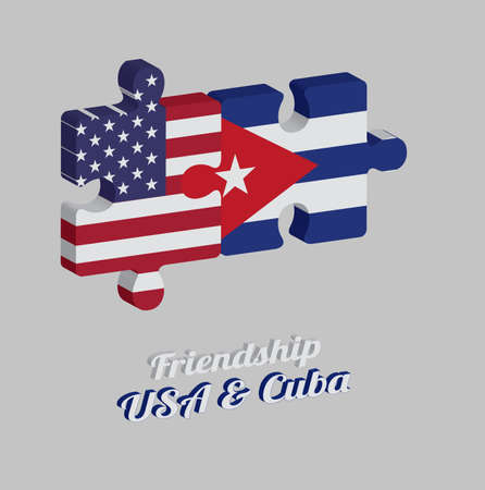 Jigsaw puzzle 3D of America flag and Cuba flag with text: Friendship USA & Cuba. Concept of Friendly or good compatibility between both countries.