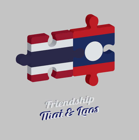 Jigsaw puzzle 3D of Thailand flag and Laos flag with text: Friendship Thai & Laos. Concept of Friendly or good compatibility between both countries.