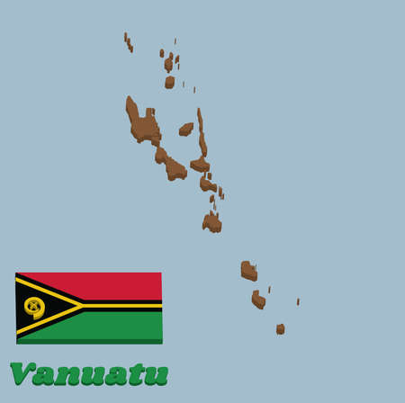 3d Map outline and flag of Vanuatu, red and green with black and yellow color boar's tusk encircling two crossed fern fronds in the center and the golden pall with text Vanuatu.