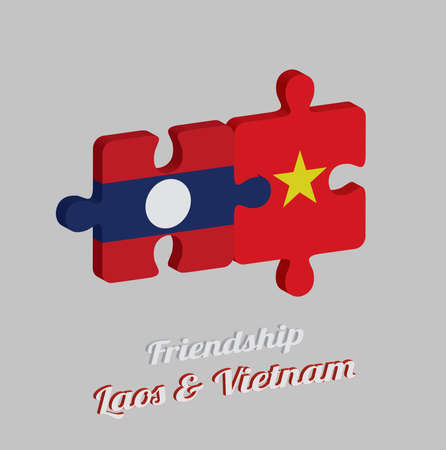 Jigsaw puzzle 3D of Laos flag and Vietnam flag with text: Friendship Laos & Vietnam. Concept of Friendly or good compatibility between both countries. Ilustração